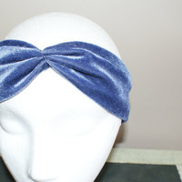 Blue Velvet Headband, Fashion HairBand, Turban Hairband, Shabby Chic Headband, Stretchy Turband, Spring Hairband