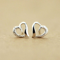 accessoryinlove — Cute Semi-frosted 925 Sterling Silver Heart Earrings