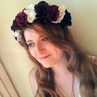 Floral crown flower crown rose crown headband wreath with red silk roses festival - &#x27;Decadence&#x27;