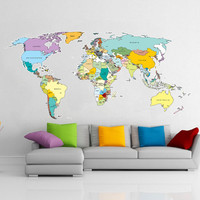 Printed World Map Vinyl Wall Sticker