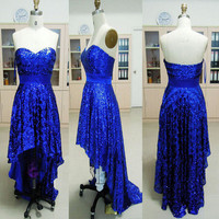 Cheap 2013 Strapless Sweetheart Front Short Long Back Sequined Royal Blue Prom Evening Dresses from 2013 New Dresses