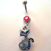 Belly Button Ring Barbell Rose Pink Crystal Silver Tone Cat