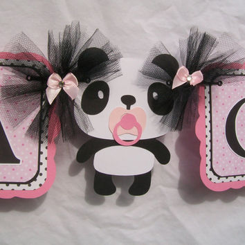 panda baby shower banner its a girl banner pink black and white