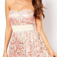 Starry embroidery Lace strapless Dress