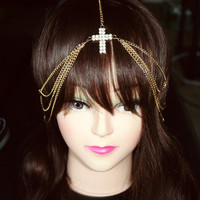 Adjustable Gold Cross Headpiece w/ rhinestones