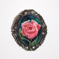 Original Rose Watercolor Painting Brooch
