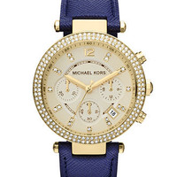 Michael Kors Watch, Women's Chronograph Parker Navy Leather Strap 39mm MK2280 - First @ Macy's! - Michael Kors - Jewelry & Watches - Macy's