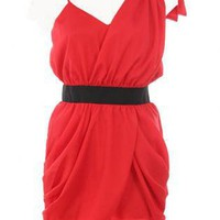 Coral Mini Dress - Asymmetrical Sleeve Dress | UsTrendy
