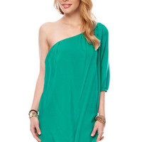 One Down Shoulder Dress in Jade :: tobi