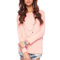 Back to Basics Long Sleeve Top in Peach :: tobi