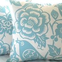 Throw pillow cover Robin egg blue floral 18 x 18 by MicaBlue