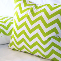 Chartreuse Lime Green chevron pillow 16 x 16 by MicaBlue on Etsy