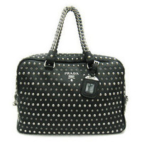 Prada BL0614 Black Leather Studded Boston Bags