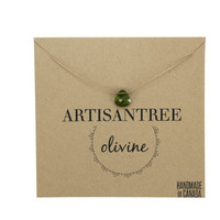 Stone Necklace : Olive Crystal Necklace with Light Brown Natural Silk Cord, Delicate, Simple, Bridesmaid, Beach, Summer, Boho