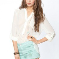 Pure Chiffon Blouse in White - ShopSosie.com