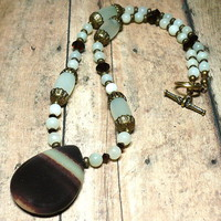 Madagascar Desert Jasper and New Jade Gemstone 19 inch Necklace