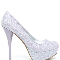 A'GACI Neutral-396 All Over Glitter Round Toe Pump - PLATFORMS