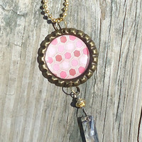 Shades of Pink Bottle Cap Charm Necklace