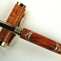 Handcrafted Wooden Pen Hand Turned Rollerball Pen Beautiful Amboyna Burl with wood and Aluminum Accents Gold Hardware 422U