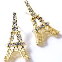Gold Plated Sparkling Crystal Eiffel Tower Paris France Theme Stud Earrings: Jewelry