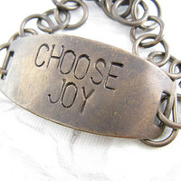 Choose Joy Bracelet Hand Stamped Jewelry Quote by CobwebCorner