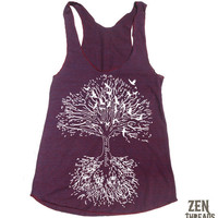 Womens - Roots  TREE american apparel Tri-Blend Racerback Tank Top S M L (9 Color Options)