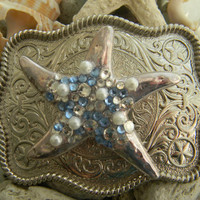 Silver Plated Starfish Belt Buckle Blue Rhinestone Crystal Pearl  Belt Buckle