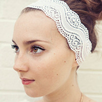 READY TO SHIP White and Wavy Stretch Lace Headband 2 1/2 inches wide Easter