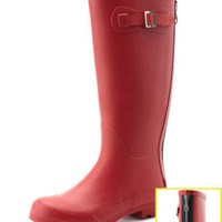 Charlotte Russe - Zip-Back Solid Rain Boot