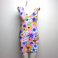 hella 90s.........Bright Bold DAISY Surreal pop art Floral Print mini Tie Dye KAWAII Club Kid seapunk Dress