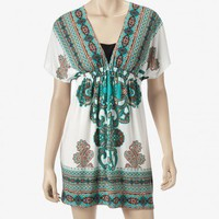 Volume One Moroccan Print Kimono Dress