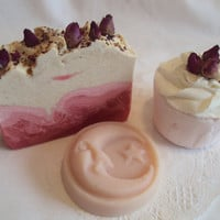 Mothers Gift Set Red roses for you soap, Passion Flower and Acai Bath Bomb, Solid Lotion Bar in Crisp Apple Rose
