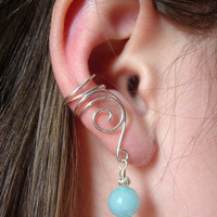 EAR CUFFS Pair of Solid Sterling Silver Ear Cuffs with Genuine Amazonite