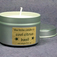 Soy Candle Tin // Cool Citrus Basil // Highly Scented Container Candle // Mother's Day Gift // Wedding Favor // Primitive Home Decor