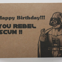Darth Vader Birthday card and envelope  Star Wars  by comradecards