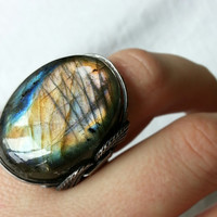 Labradorite Ring Colorful Stone Aurora Borealis by HardCandyGems