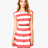 Classic Striped Woven Dress | LOVE21 - 2080667322