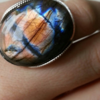 Labradorite Ring, Eye Candy - Electric, Coral Orange, Blue, Indigo, Purple, Natural, Sterling Silver, Unique Handmade Jewelry