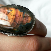 Sunset Ring, Labradorite, Huge, Big Stone, Oxidized Sterling Silver, Fire, Orange, Hot Pink, Fuchsia, Tropical