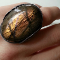 Labradorite Sunset Ring, Big Natural Gemstone, Statement Piece, Oxidized Sterling Silver, Handmade Unique, Spring Summer Color