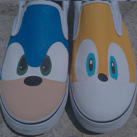 Hand Painted Sonic and Tails Vans Slip On Shoes by SceeneShoes