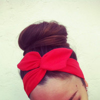 Vibrant Rosy Red Dolly Bow Headband by Eindre on Etsy