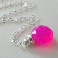 Neon Hot Pink Chalcedony Necklace Wrapped Sterling by livjewellery