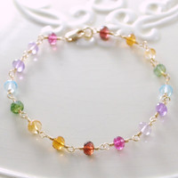 Rainbow Bracelet Gemstone Gold Jewelry by livjewellery on Etsy
