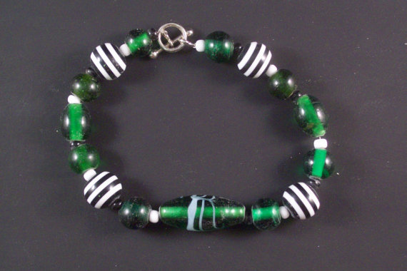 Green with Black and White Striped Glass Beaded by LizsWares