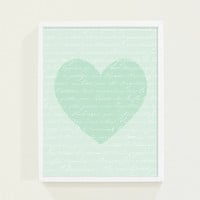Baby Nursery Wall Art - Love Letter Heart in Mint Green Pastel