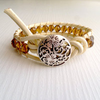 bohem boho cream leather wrap bracelet shabby by theflowerdesign