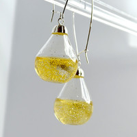 2 inches Long drop golden glitter water pear shaped by thestudio8