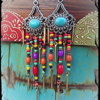 TURQUOISE GYPSY hippie EARRINGS colorful long earrings belly dance Beaded chandelier earrings Spike earrings Shoulder duster earrings