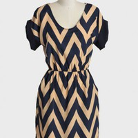 far away chevron dress in navy at ShopRuche.com